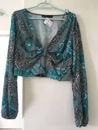 Título do anúncio: Blusa de manga azul Tam G [NOVA]