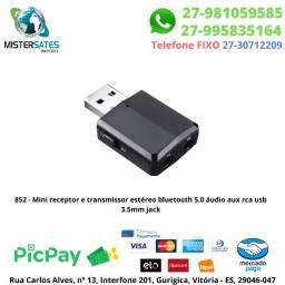 852 - Mini receptor e transmissor estéreo bluetooth 5.0 áudio aux rca usb 3.5mm jack