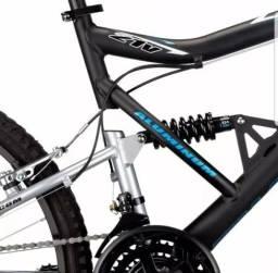 Bicicleta Aro 26 Caloi KS Alumínio com Full Suspension e 21 Marchas - Preta/Prata