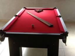Mesa Cor Preta, Tecido Vermelho e 4 pés Mod VIAW2931