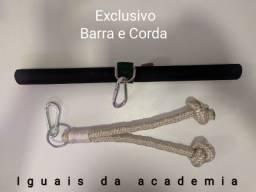 Kit com Barra e Corda para Musculação
