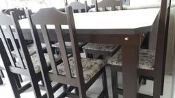 Mesa + 6 cadeiras em madeira - preço da fabrica