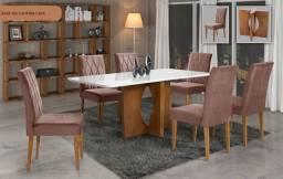 Sala de Jantar completa com 6 cadeiras em até 10X no cartão de crédito