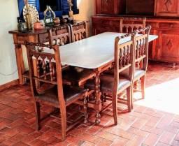 Conjunto mesa e cadeira rústico