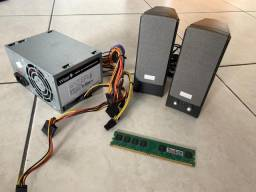 Memória RAM 1GB Ddr2 + Fonte + Caixas Som