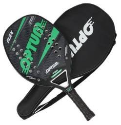 Raquete De Beach Tennis Optum Pro Flex 2020 - Carbon Frame - Preto e Verde