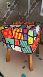 Puff retrô impermeável - redondo e quadrado - r$ 89,99 - unidade