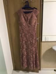 Vestido longo rose de renda!