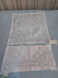 Toalha de Cretone 2 peças feita a mão antiga