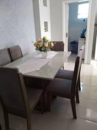 Mesa com 6 cadeiras, mesa é nova, medidas 140X0.90