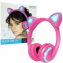 Headphone Bluetooth Com Orelhas De Gato Exbom Hf-C240Bt Rosa