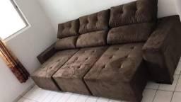 Sofá Retrátil e reclinável marrom 3 mts