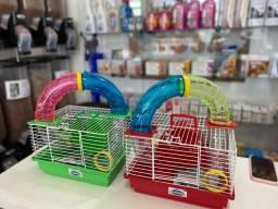 Gaiola de Hamster com tubo e Comedouro