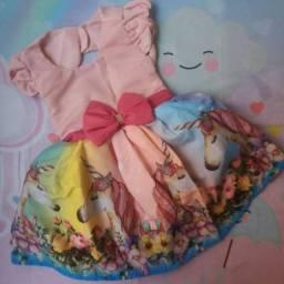 Vestido Unicórnio Rosa Vários Tamanhos