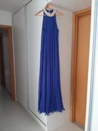 Vestido longo azul gola de pérolas