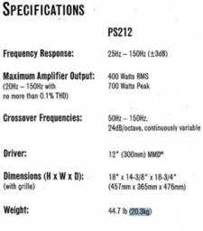 Infinity PS212 Subwoofer motorizado (grade preta)