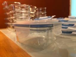 Conjunto de potes/marmita de vidro Click Glass 320ml