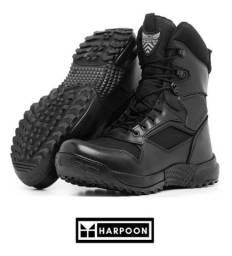 Bota Coturno Militar Tática Policial Couro Masculino Harpoon