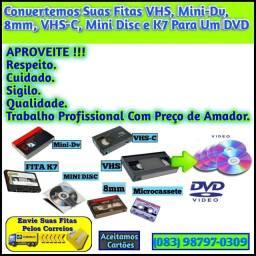 Digitalizamos Suas Fitas Vhs, Vhs-C, MiniDv, MiniDisc, 8mm, Microcassete e Fitas Cassete