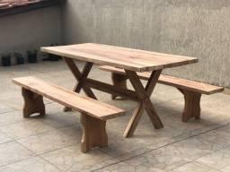 Mesa com banco de prancha rustico