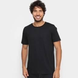 3 Camisetas Masculinas Tipo Lisa Preto Branco e Cinza Tamanho M