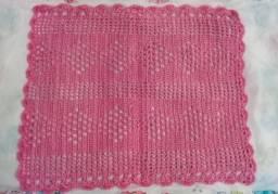 Pano de crochê rosa