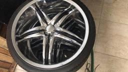 Rodas 5furos multi furos com pneus cromada aro 20