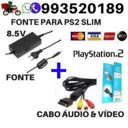 Kit Ps2 Fonte de Alimentação e Cabo de Áudio e Vídeo para Ps2