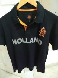 Camisa Futebol Pólo preta Holanda