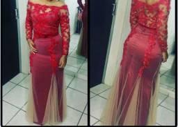 Vestido vermelho de festa (usado duas vezes)