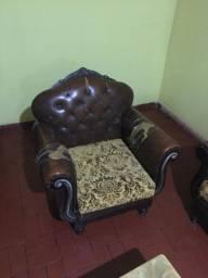 Sofá antigo e rústico - 2 poltronas e um sofá grande