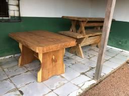 Mesa de madeira rústica prancha mesa em angelilin pedra suporte e bancas em garapa