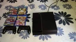 Playstation 04 - 06 jogos, 02 controles, caixa, nota e manual