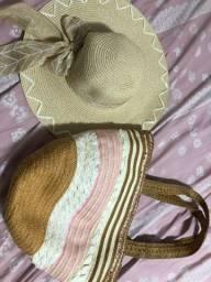 Kit bolsa e chapéu praia