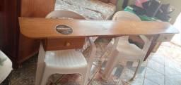 Bancada pra barbearia De madeira cerejeira com duas gavetas