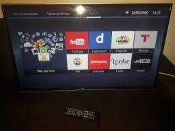 De 40 pol, smart tv toshiba com wifi, pezinho e controle / semi nova