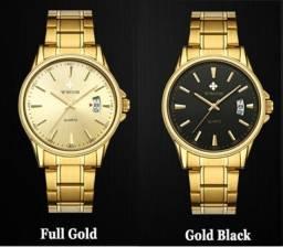 Relógio Wwoor Clássico Quartz Masculino Dourado