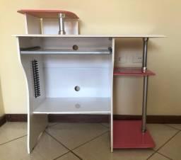 Vendo escrivaninha/mesa de computador rosa e branca