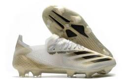 Chuteira Adidas X Ghosted .1 FG -White/Core Black/Metallic Gold MelangeX20.1
