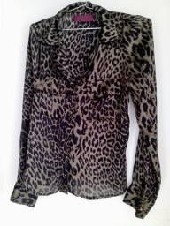 Camisa Longa Viscose Animal Print