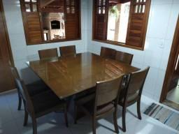 Mesa quadrada 8 lugares com cadeiras