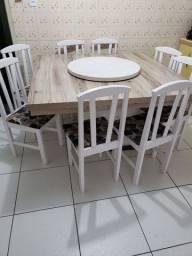 Mesa c/8 cadeiras, tampo giratorio removivel
