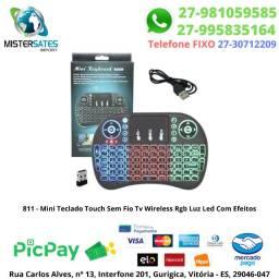 811 - Mini Teclado Touch Sem Fio Tv Wireless Rgb Luz Led Com Efeitos