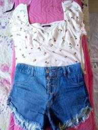 Vendo look, blusinha e short nunca usado (comprei mas ficou grande em mim)