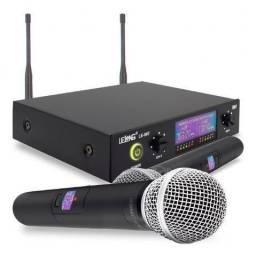 Kit microfone sem fio duplo profissional