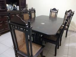 Mesa Vintage Madeira Jaborandi com 7 cadeiras
