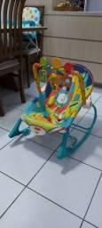Cadeira de Descanso de Bebe Azul co zeam Som Vibração e Balanço Fisher Price