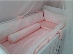 Kit de berço, cetim com renda na cor rosa claro