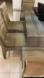 Mesa de jantar tampo de vidro 6 cadeiras