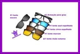 Armação Para Grau E Óculos De Sol Two, Cinco Lentes Coloridas!